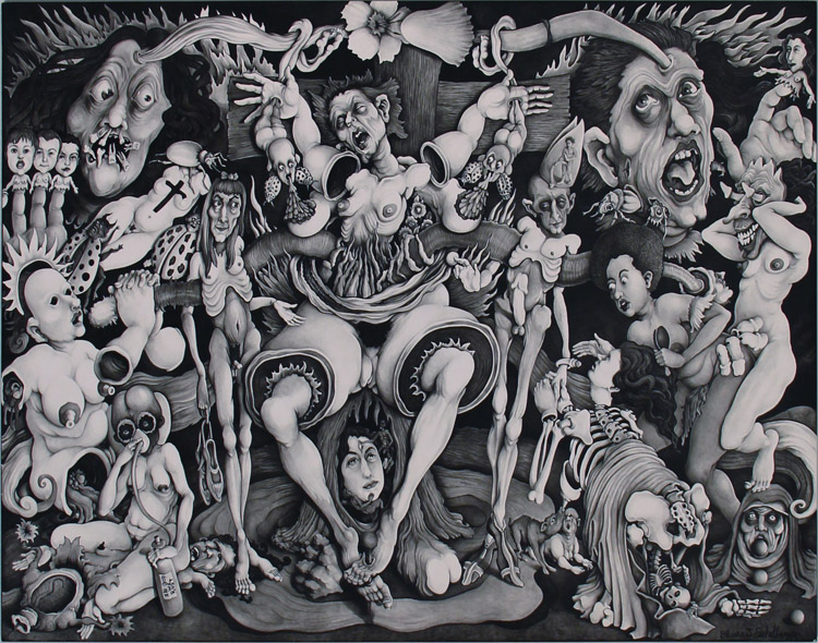 "Bruce Eichelberger - Brucifixion black ink on clayboard, 18x24"" $2,000"