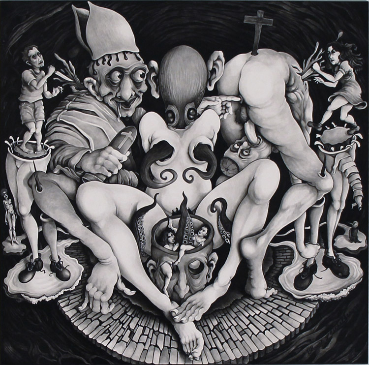 "Bruce Eichelberger - Octopussy black ink on clayboard, 12x12"", $1,200"