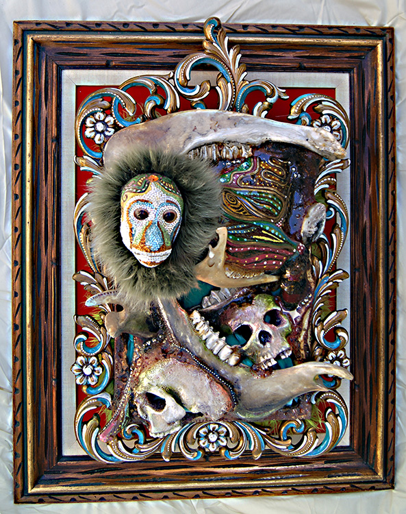 "Mikal Winn - Great Escapebones/faux fur/velvet/cast skulls/taxidermy/Swarovski crystals/found objects. 26x32x15"", $3,500"