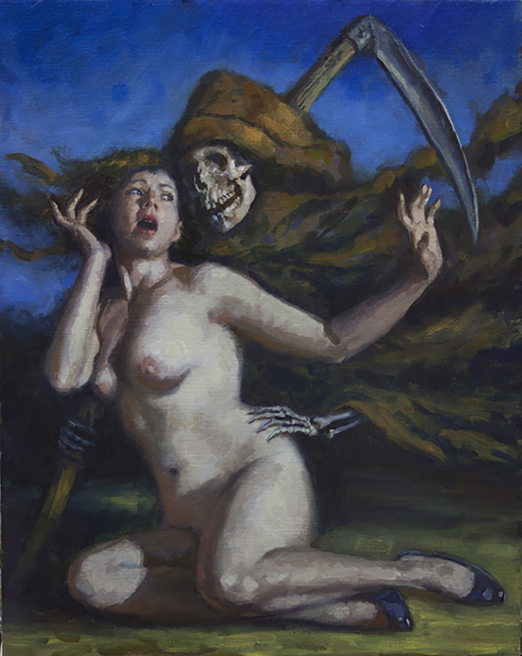 "Dave Lebow - Death and The MaidenOil on canvas, 16x20"", $ 2,000"
