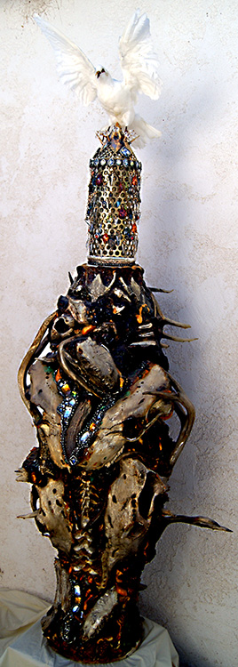 "Mikal Winn - Never Get Oldbone/skulls/antler/taxidermy/Swarovski crystals/found objects. 28x76x18"", $14,500"