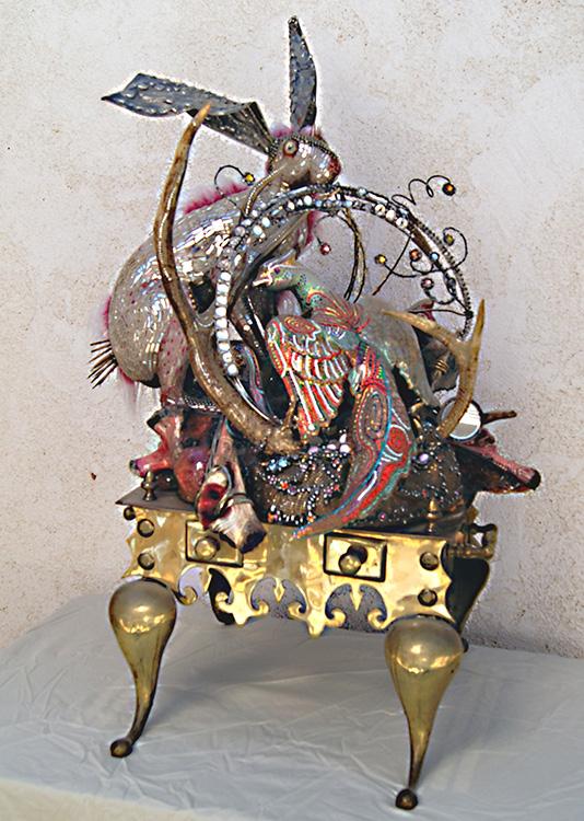 "Mikal Winn - Peppermintbone/antler/faux fur/mirror/glass/brass/Swarovski crystals. 24x36x21"", $3,800"