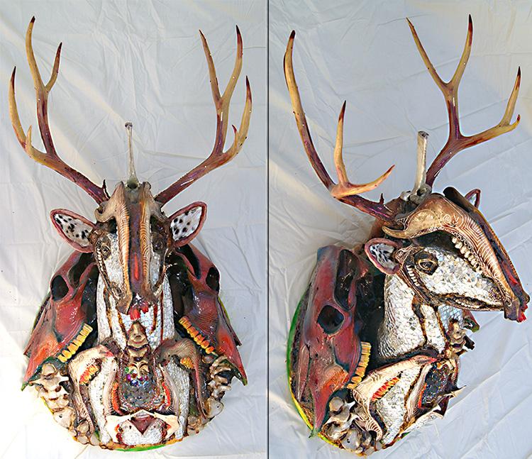 """Mikal Winn - The Deer Hunterbone/skulls/antlers/Swarovski crystals/wood/mirror. 25x47x26"""", $8,500"""