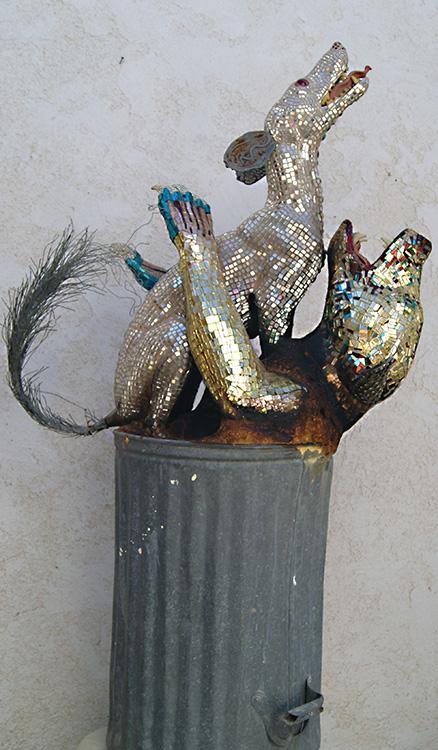 "Mikal Winn - Trash Can Tangotaxidermy forms/mirror/brass/steel/glass/turquoise/ Swarovski crystals. 30x51x17"", $2,600"