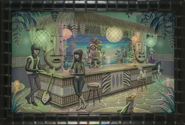 Aaron Marshall - Tiki Bar Acrylic on canvas, 27x43 in. $4500