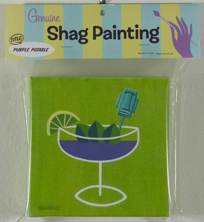Shag - Purple Potable Cel vinyl on canvas, 6x6 in. $1200