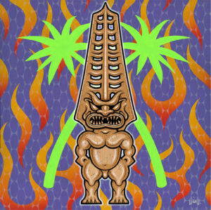 Jim Blanchard - Techno Tiki Acrylic on Stretched Canvas, 20x20 in. $800