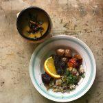 Boeuf à l'orange, riz et légumes grillés