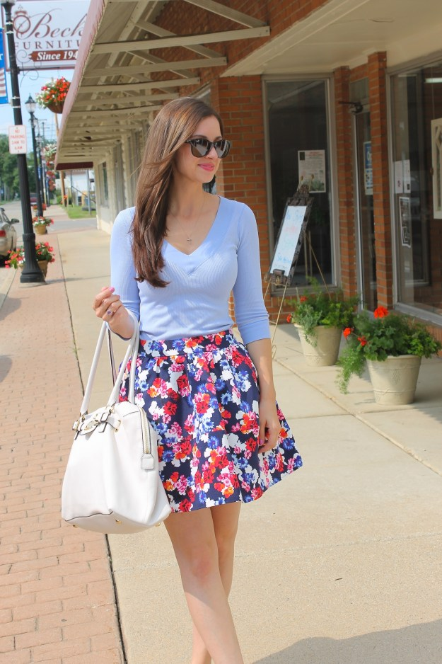 Baby Blue, Express Full Floral Skirt, White Michael Kors Bag