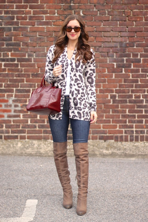Leopard Cardi and Taupe OTK Boots