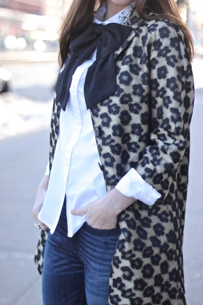 Ann Taylor Gold and Black Floral LeopardCoat and Oversized Bow Tie