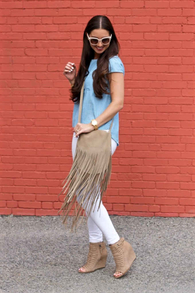 Styling a Chambray Denim Open Back Top