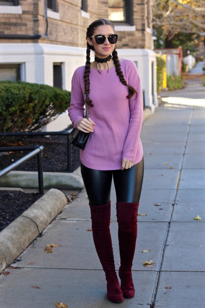Kaitlyn Pan Burugndy OTK Suede Boots, Mauve knit sweater, dupe Prada 49mm retro sunglasses