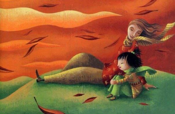 padre e hijo en una colina al amanecer