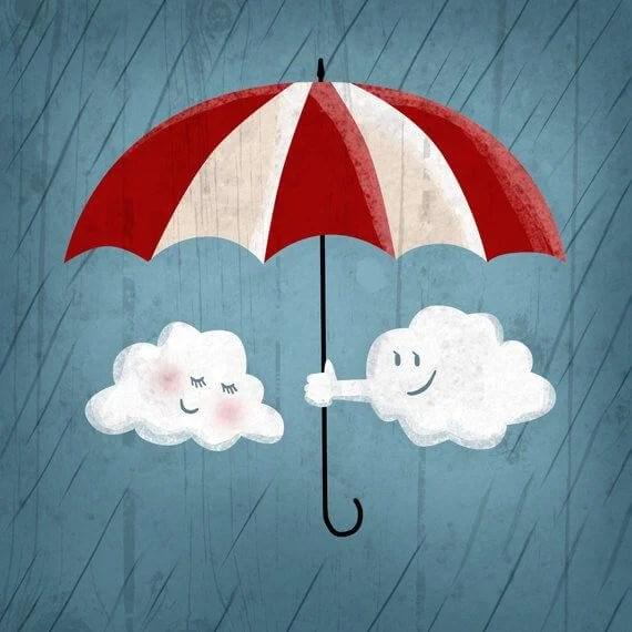 Nube tapando a otra con un paraguas por la lluvia