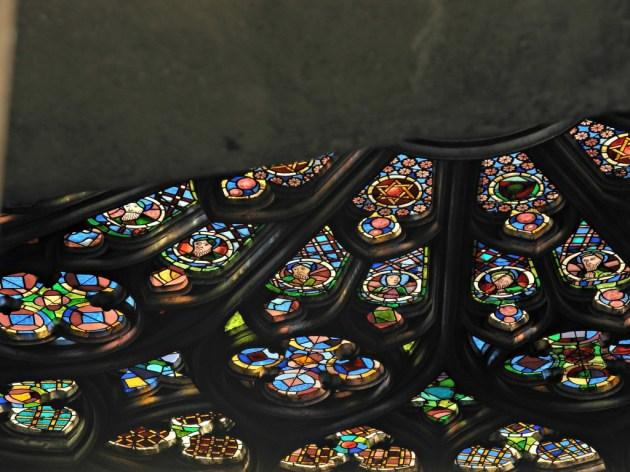 Detalle del rosetón desde el tejado de Sta Maria del Pi.