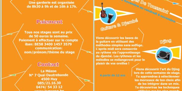 Stage de Toussaint du 2  au 6 Novembre