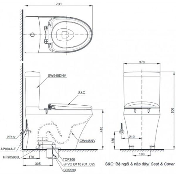 bản vẽ bàn cầu TOTO CS945