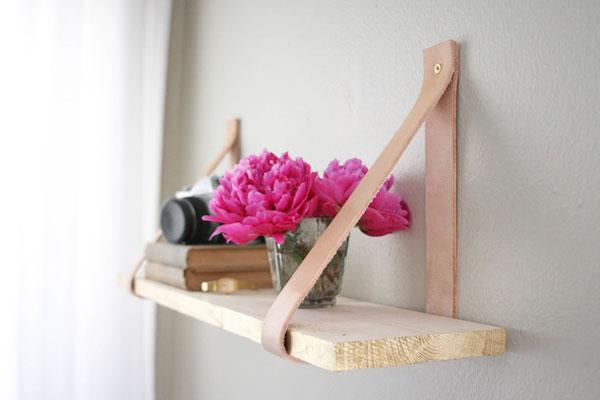 Leather shelf DIY