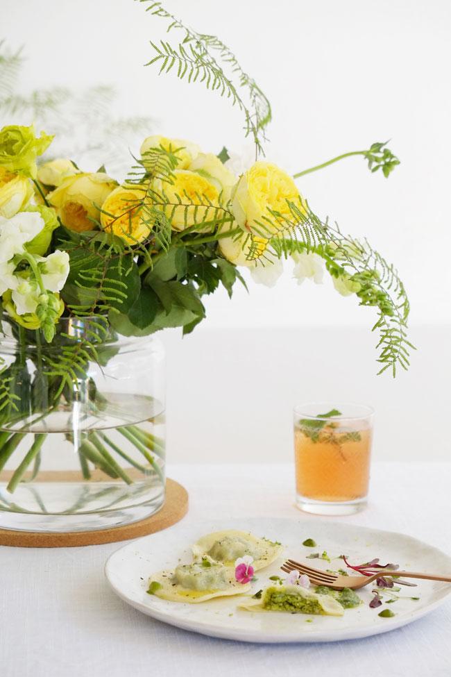 Pea and pistachio ravioli