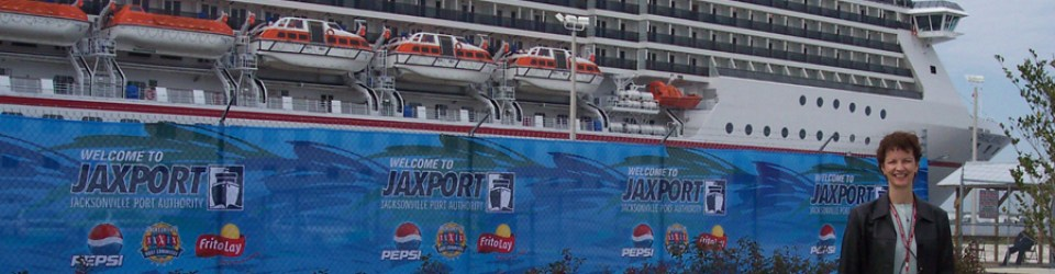 Joyce Landry and Carnival ship at Super Bowl