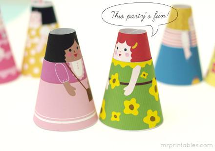 Paper Cone Girls, nines de paper còniques descarregables