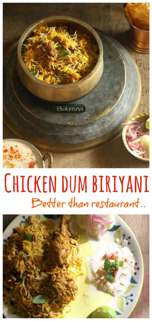 """A perfect one pot meal of saffron scented Basmati rice, tender succulent chicken cooked on """"dum"""" till everything becomes one tasty pot of heaven!"""