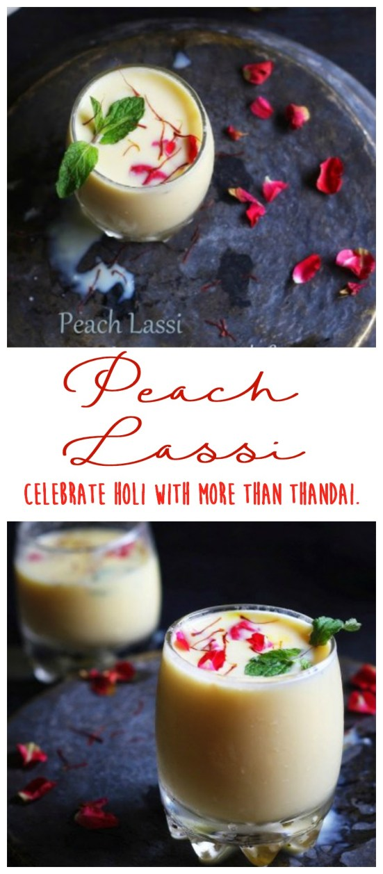 Why limit HOLI celebrations to just Thandai? Make this delicious, cool and flavorful Peach Lassi with mint, saffron and rose to wow your guests!