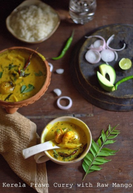 Prawns curry cooked the Kerali way with coconut milk and raw mangoes