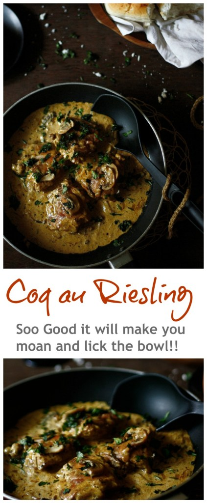 Coq au riesling..SO so good .. Nigel Slater's recipe using mushroom, garlic, thyme and dry wine!!