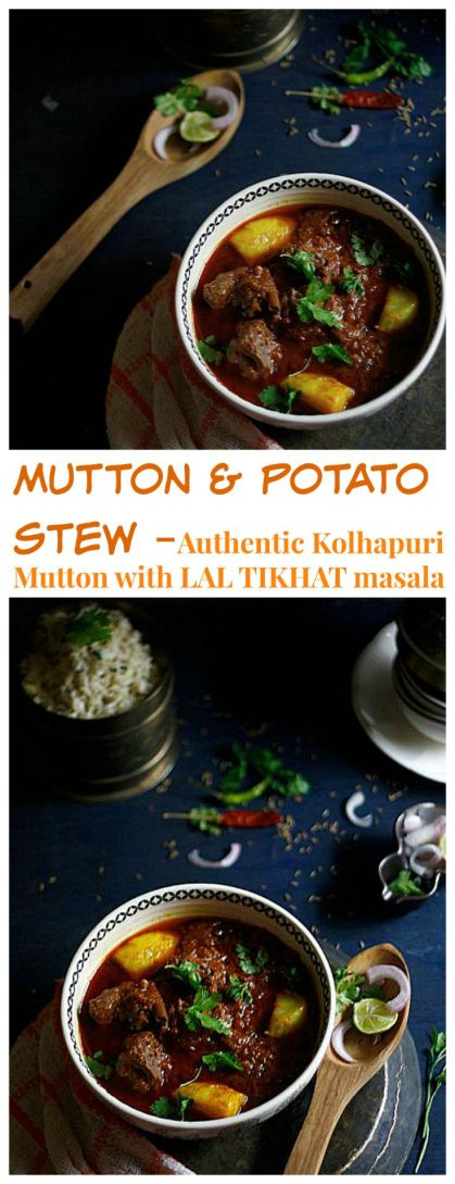 mutton and potato stew or kolhapuri mutton