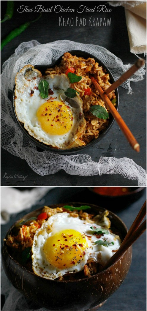 Thai chicken fried rice is a simple and delicious, mid week dinner that can be ready in just 30 minutes. Rich in the true flavors on Thailand, this healthy bowl of rice includes fragrant basil chicken, bell peppers and a fried egg on top!
