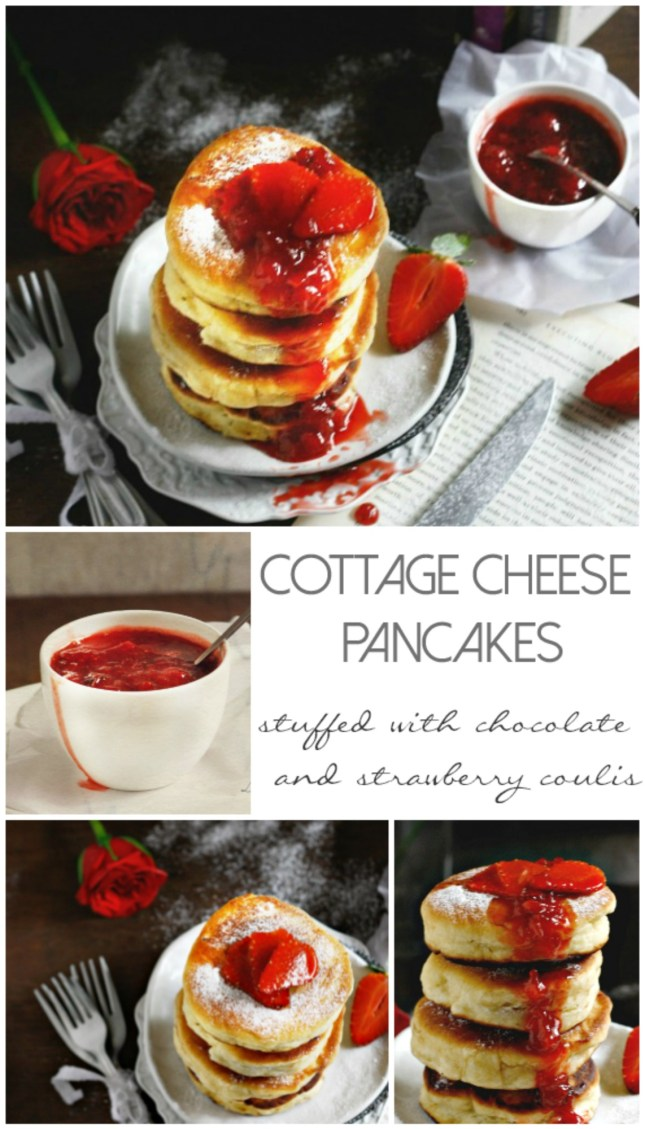 """(cottage cheese pancakes), stuffed with chocolate and drizzled with strawberry sauce is a simple and easy way to show your love , coz after all food is nothing but """"Love made edible"""".. right?"""