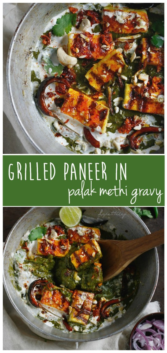 Palak methi paneer curry is a delicious take on the much loved palak paneer but with the goodness of fresh in-season fenugreek leaves.  MUST try veggie option!