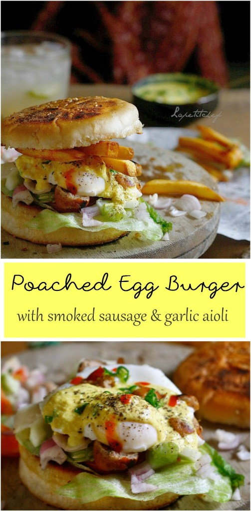A delicious and filling breakfast burger of perfectly poached eggs and smoked sausage topped on a bed on fresh lettuce and veggies, all dressed in a silky garlic aioli. BEST breakfast EVER!