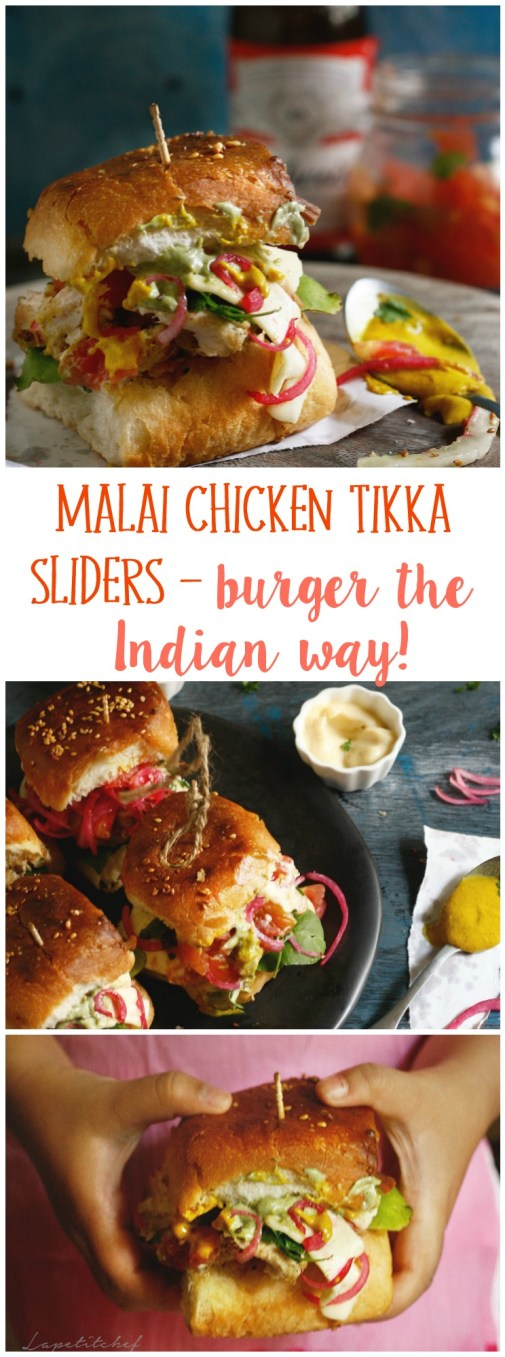 Malai chicken tikka sliders (mini burgers) are quick, delicious and filling. This subtly flavored malai chicken tikka slider is topped with the homemade goodness of pickled veggies and tomato salsa. Drizzle a variety of spreads, a slice of cheese and something green and you have the recipe for a perfect finger food/ game day food/brunch food/weeknight in food!