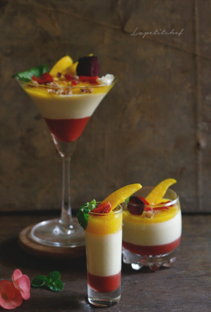 Thandai pannacotta with strawberry and mango coulis is everything you want a summer dessert to be. Its light and creamy, cold and sweet, fruity and definitely exotic.. Make this for Holi and win everyone's hearts!