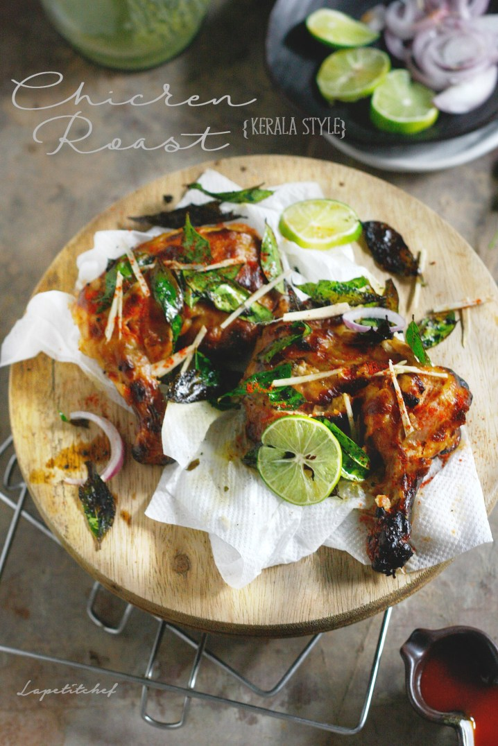 Chicken roast Kerala style is a simple and earthy meal for two. Made with spices true to this region, this chicken roast is spicy, tangy and deliciously fragrant from the curry leaves. The best way to enjoy Indian cuisine in the grueling summers is to fire up that barbecue and get roasting!