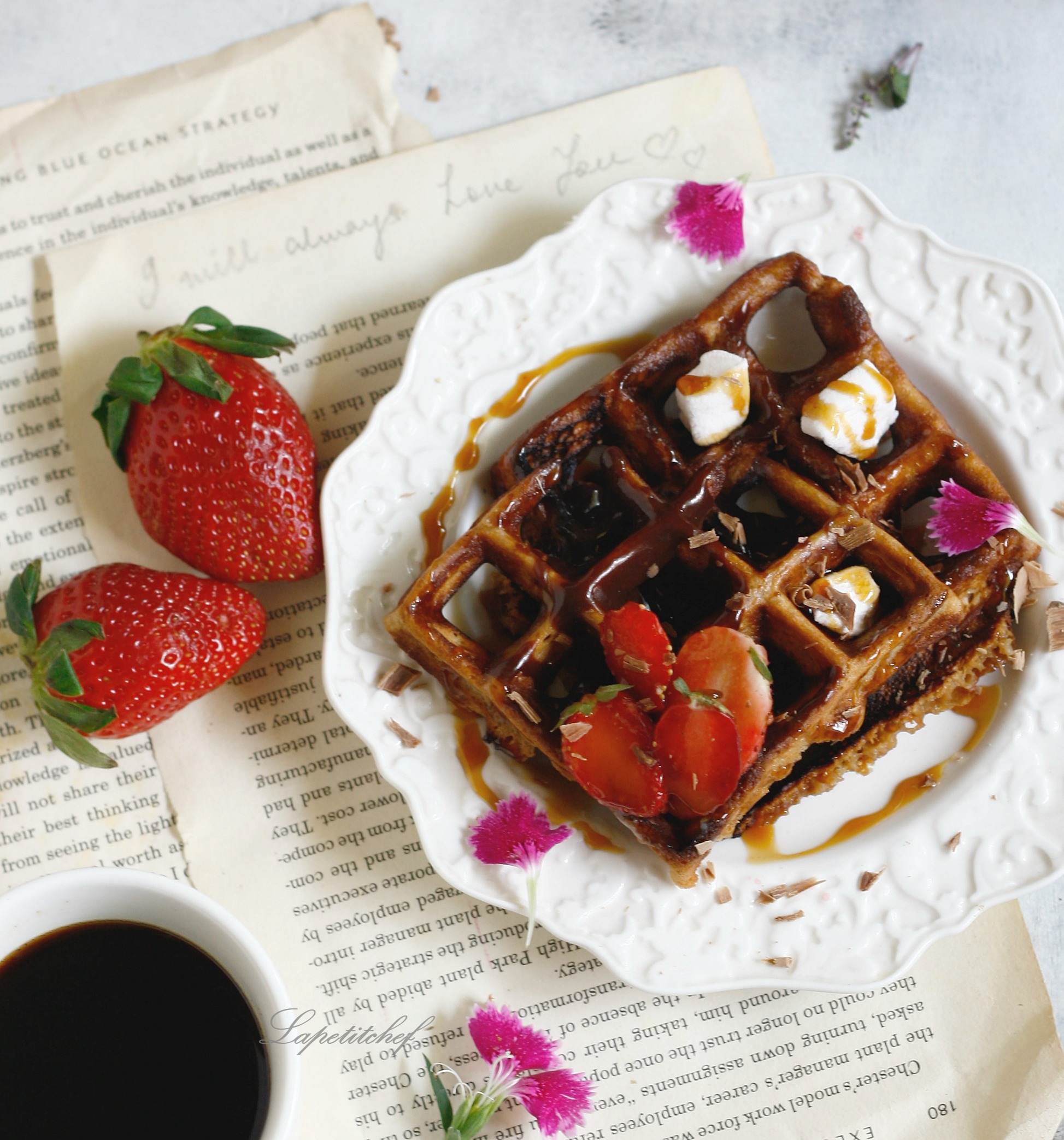 churro waffles with mocha sauce