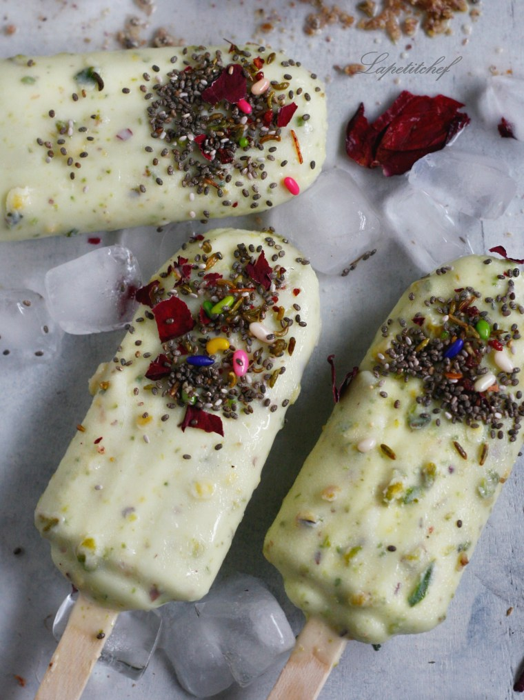 Pistachio Popsicle or kulfi with white chocolate