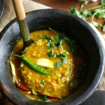 Red lentils with green mango