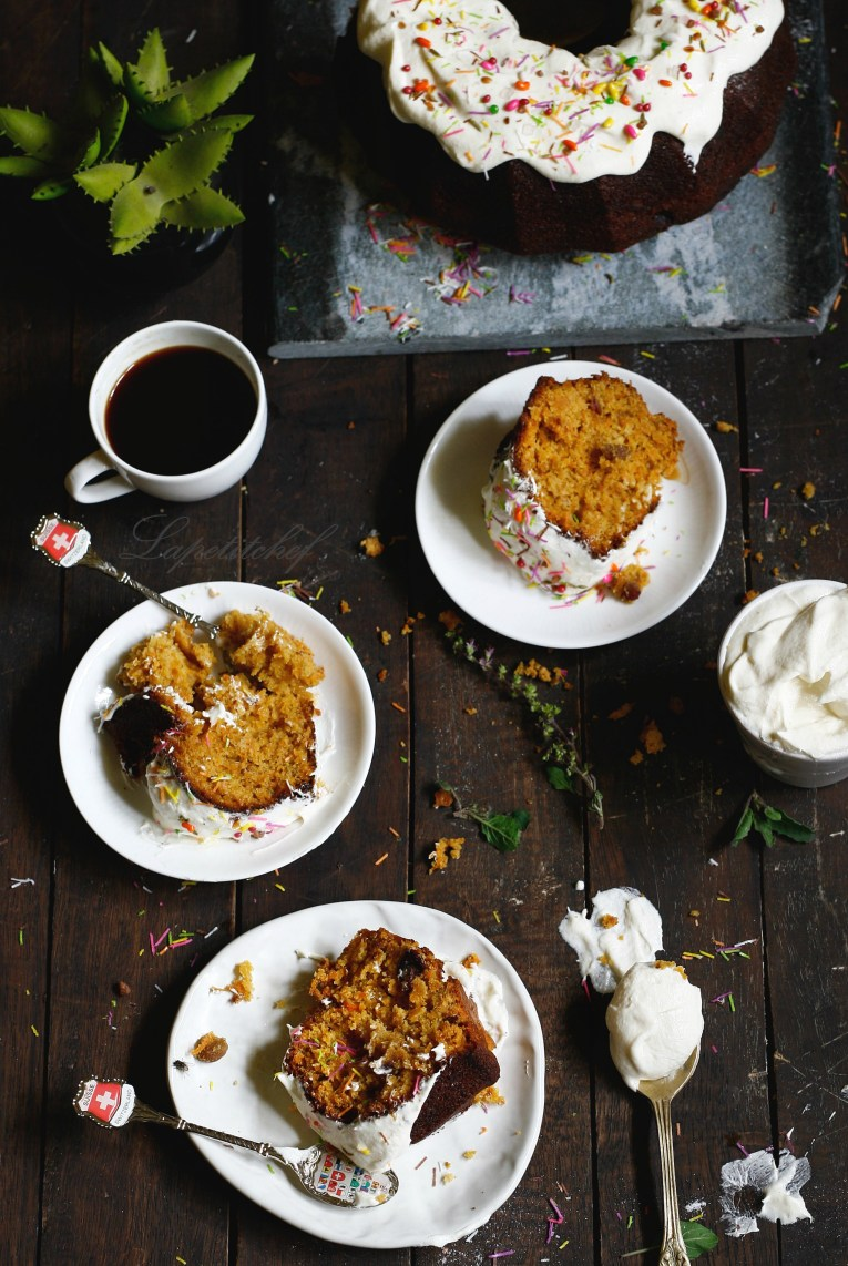 Carrot banana cake with dates and raisins