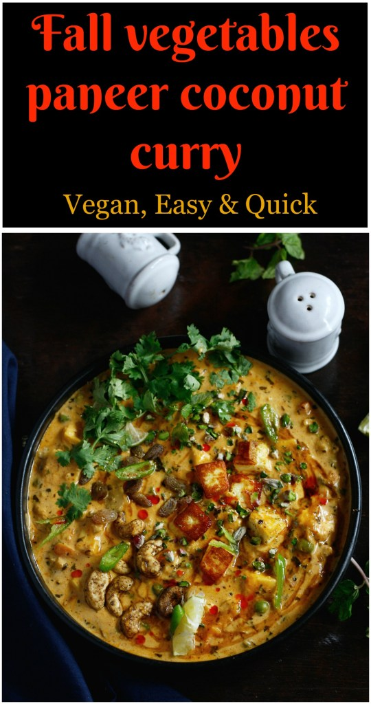 Fall vegetables paneer coconut curry