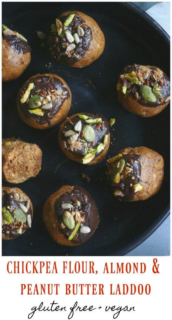 Besan, almond and peanut butter laddoo
