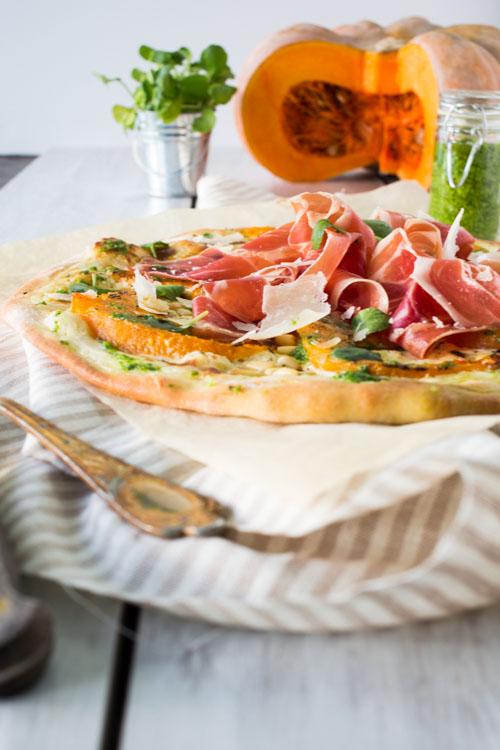 Pizza Courge-Jambon de Parme & Pesto de Cresson