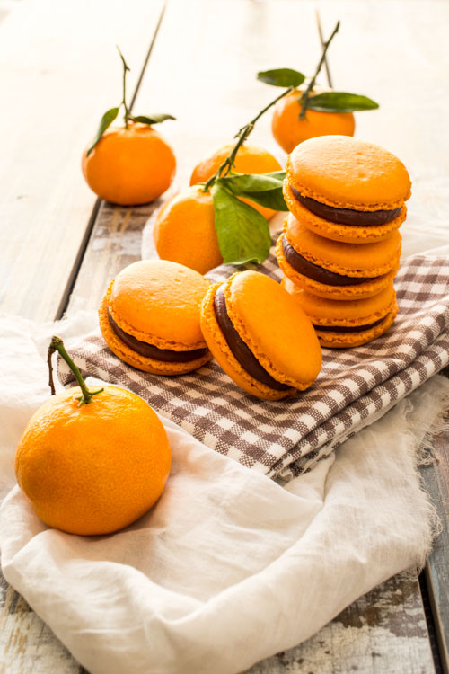 macarons chocolat noir clementine