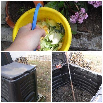 Imagen: RECOLECTORA. El cubo de compost que utilizamos.