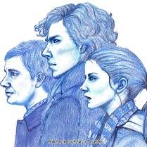 Barb « Sherlock Holmes and Molly Hooper » : « Je n'avais jamais travaillé avec des crayons de couleurs comme ça avant. Ce dessin n'utilise que du bleu clair, du bleu marine et du noir. Quand je l'ai terminé, je me suis dit que ça pourrait être bien d'ajouter Molly Hooper. » milkforthesouffles.tumblr.com.