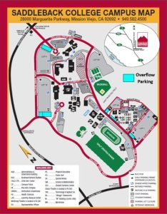 The new extension parking lots are highlighted on the Saddleback College campus map.