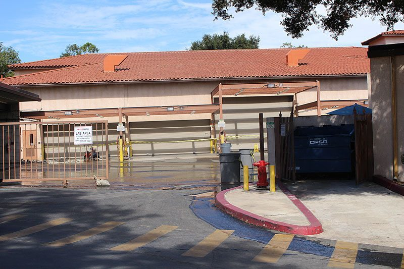 Saddleback College's Automotive and Technology Department of the Advance Technology and Applied Science Division is flooded with water as a result of a water break that occurred earlier today. As a result the campus is currently closed. (Photograph by Anibal Santos)
